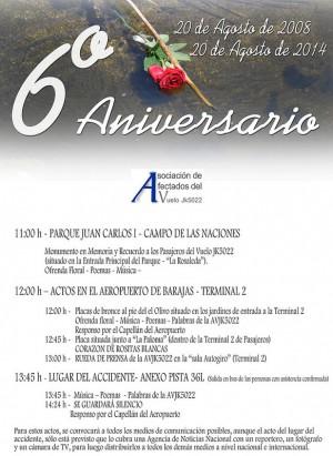Programa de Actos el 6º Aniversario del accidente del JK5022 de Spanair